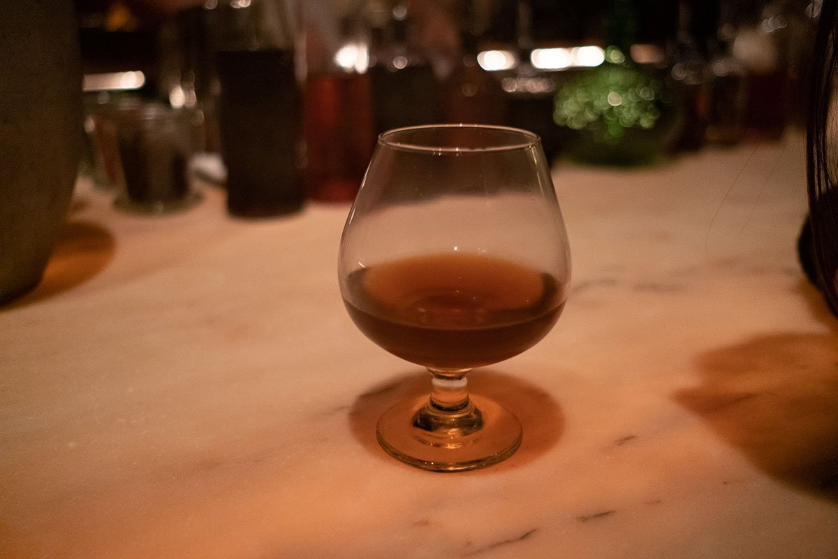 A strong and savory cocktail at Apotheke New York