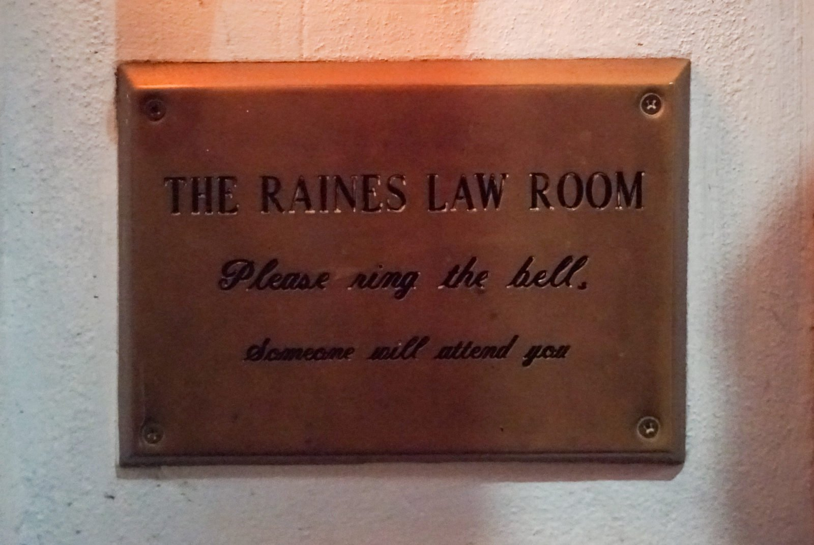 Raines Law Room New York City Secret Bar entrance sign