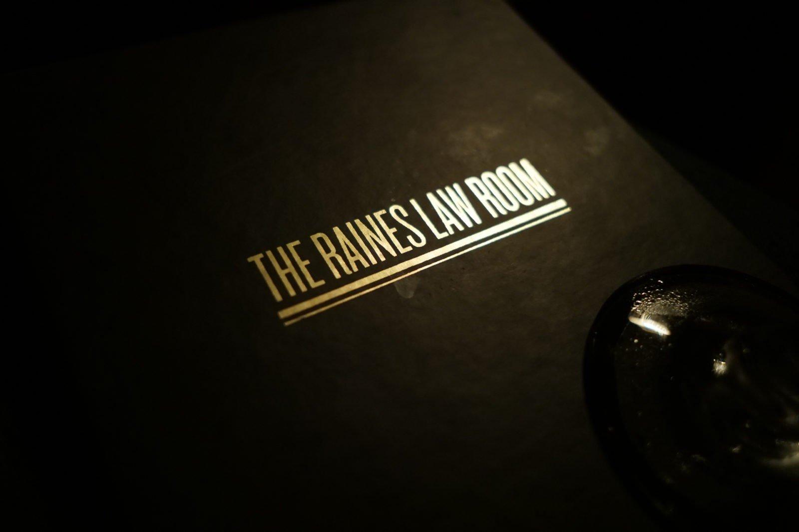 Raines Law Room New York City Secret Bar menu